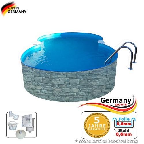 8,55 x 5,0 x 1,2 Achtformbecken Stein-Optik Achtform-Pool Stone