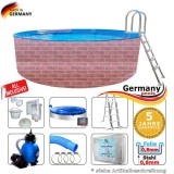 Schwimmingpool 300 x 120 cm Poolset Pool Komplettset Brick