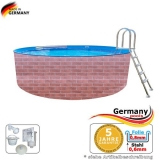 Schwimmingpool 6,0 x 1,2 Ziegel-Optik