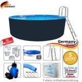 Stahl-Pool 550 x 125 cm Komplettset Anthrazit
